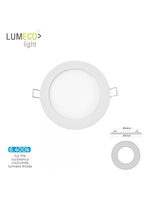 MINI DOWNLIGHT LED LUMECO 6W 320 LUMENS REDONDO 12CM 6.400K MARCO BLANCO