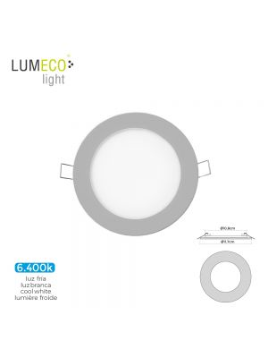 MINI DOWNLIGHT LED LUMECO 6W 320 LUMEN REDONDO 12CM 6.400K MARCO CROMO