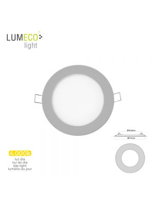MINI DOWNLIGHT LED LUMECO 6W 320 LUMEN  REDONDO 12CM 4.000K MARCO CROMO