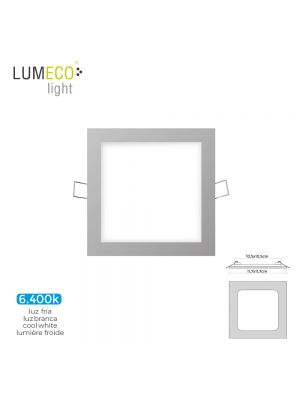 MINI DOWNLIGHT LED LUMECO 6W  320 LUMEN CUADRADO 12CM 6.400K MARCO CROMO